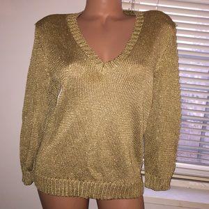 ❄️Lauren Ralph Lauren gold sweater size L🌺